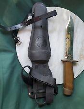 Aqua Lung US divers Japan diving knife vintage tan handle original sheath