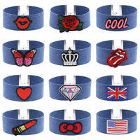 Choker Women Necklace Blue Embroidery Denim Lace Up Tattoo Gothic Punk Collar UK