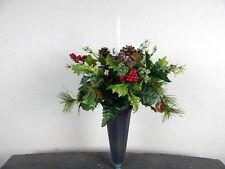 Solar Light Candle Winter/Christmas Cemetery Flower Headstone Vase Bush