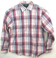Nautica Mens Large Button Front Shirt Long Sleeve Red Blue Plaid