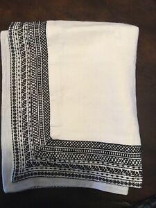 Restoration Hardware Milou Embroidered Linen King Sham Ivory/Black New!!