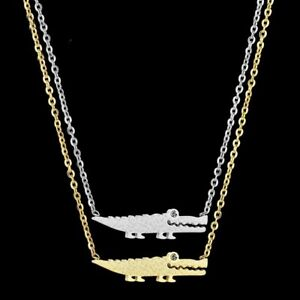 Men Stainless Steel Necklace Crocodile CZ Stone Pendant Women Charm Chain Choker