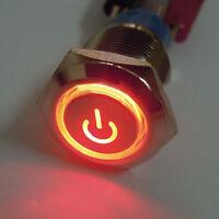 19mm 12V Auto Leistung Schalter Drucktaster Taster Druckschalter Beleuchtet Rot
