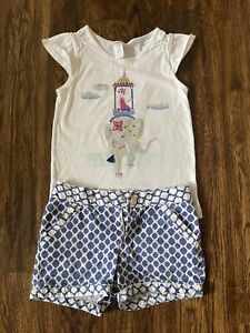 Gymboree Girls Outfit Top And Shorts  Elephant Blue Set White Size 8