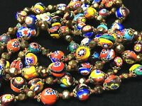 "VTG 43""~MURANO MILLEFIORI GLASS BEADED NECKLACE~HAND KNOTTED & SPACER BEAD"