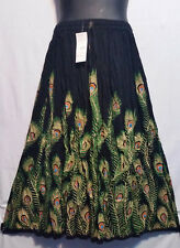 Women's Clothing Long Rayon Skirt Sequin Gypsy Hippie Black Green Free Size