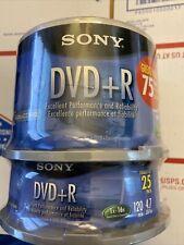 Sony DVD-R 4.7GB 120 DVD-R 1x-16x Blank Media Disc75 Pack New Original Package