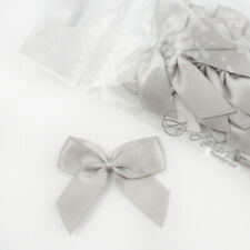 5cm Satin Bows Self Adhesive Silver