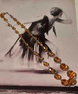 Vintage Colour Crystal Cut Amber Beads Gold Tone Links 18 Inches
