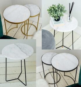 Solid Marble Table Art Deco Lounge Living Room Decor Side Tables Black Gold