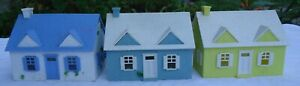 Plasticville Ho Scale Built Cape Cod Houses Lot Of 3 Blue, Green & Yellow