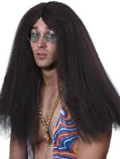 LONG BROWN FRAZZLE HIPPIE WIG MENS LADIES HIPPY FANCY DRESS ACCESSORY PARTY WIG