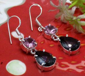 925 Sterling Silver Alexandrite & Pink Topaz Gemstone Jewelry Earrings Size-1.80