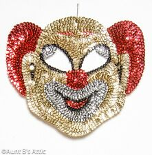 Clown Mask/ Wall Decor Colorful Sequin Gd/Rd/Silv Smiley Clown Face Display Mask