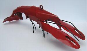 "METAL ART LOBSTER SCULPTURE FISH FIGURE 24"" LONG CRAYFISH"
