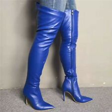 Women Thigh High Boots Stiletto Heels Boots Pointed Toe Blue Club Wear Shoes