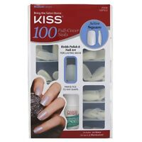 KISS Nails 100 Full Cover Medium Length Nails Kit, Active Square 1 ea (2 pack)