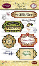 JUSTRITE CLEAR Stamps ANTIQUE AUTUMN TAGS ONE CR-03875 Celebrate Blessings Thank