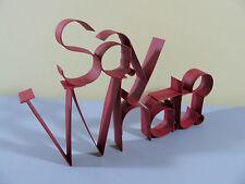 Tenderheart Treasures SAY WHAT? Ribbon Metal word art RED Slogan phrase NEW
