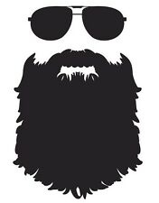 Beard vinyl decal sticker funny meme WHITE