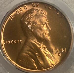 1941-D Lincoln Cent MS66RD Wheat Penny Red Gem!