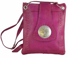 Moroccan Leather Handbag Purse Women Shoulder Bag Handmade Genuine Med Magenta