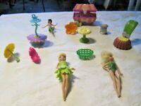 "Disney Fairies Lot ~ Tinkerbell 5"" Dolls, Furniture, Treasure Chest & Access."