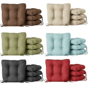 """4 Pack Chair Cushion with Ties, 14.5"""" - Faux Suede, 7 Color Choices, incl. Gray"""