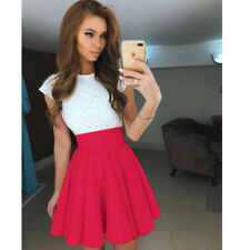 Womens Mini Skater Skirt Stretch Short/viscose Flared Plain Ladies Party Formal Red 6