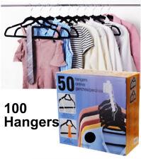 100 Non Slip Ultra Thin Clothes Hangers Black Velvet