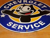 "VINTAGE 1957 FELIX THE CAT CHEVROLET 12"" PORCELAIN METAL TRUCK GASOLINE OIL SIGN"