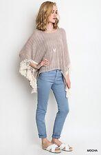 Umgee Fringe Style Boho Fashion Poncho Top Sweater Mocha Taupe Beige S M L Nwt