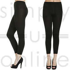 Black Warm Thick Fleece Full Length Cotton Stretchy Leggings - One Size (6 - 12)