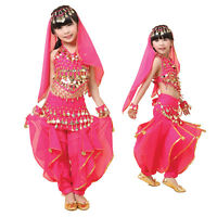 Kids Girls Belly Dance Top+Pants Set Outfit Coins Bollywood Dancing Costume NEW