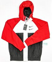 Nike Hooded Swoosh Windbreaker Jacket Men's Running Red White Black CJ4888-657