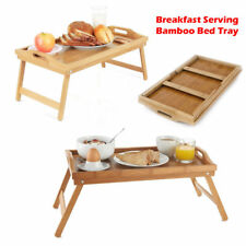 Bamboo Wooden Foldable Breakfast in Bed Serving Tray Folding Legs Food Table