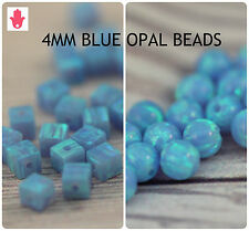 SALE 4MM Blue Loose Round Cube Square Opal Spacer Beads Jewelry Making 12 pcs