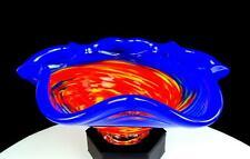 "TACOMA GLASS BLOWING STUDIO SIGNED BLUE SCALLOPED RIM MOTTLED SWIRL 9"" BOWL"