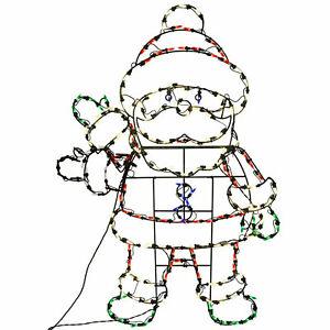ProductWorks 48in Pro-Line LED Animation Waving Santa Christmas Yard Decoration