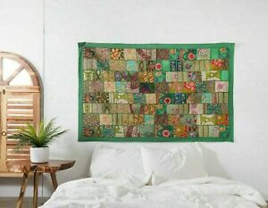 Indien 60 40 inch Cotton Green Patchwork Vintage Boho Home Decor Wall Hanging