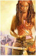 WALKING DEAD - MICHONNE ART PRINT SIGNED / ARTHUR SUYDAM - MARVEL ZOMBIES ARTIST