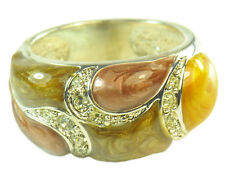 TRIBAL INSPIRED LADIES FASHION RING,BROWN/SILVER TONE/DIAMANTE ENCRUSTED(ZX2)