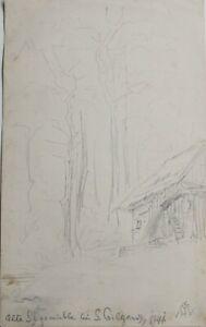 """HERMIA VON MALTZAHN GERMAN PENCIL SKETCH """"OLD SAGO MILL St. GILGEN AUSTRIA"""" 1944"""