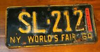Vintage NY WORLDS FAIR 1964 -65 NY State LICENSE PLATE SL-212
