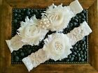 Wedding garter, Bridal Garter Set - Ivory Shabby Flower Wedding Garter Set