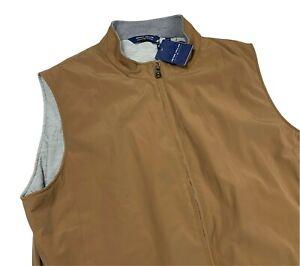 Peter Millar Crown Crafted Men's Stealth Performance Zip Brown Golf Vest 2XL XXL