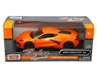 MOTOR MAX 1:24  SCALE 2020 ORANGE CHEVY CORVETTE C8 STINGRAY DIECAST CAR 79360YL