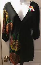 NWT DESIGUAL Black Floral Tunic Top V-Neck Kimono Sleeve Shirt Blouse Sz XL