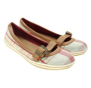 Dexter Womens Red Beige Plaid Mary Janes Slip-ons Sneakers Ballet Flats Size 5.5