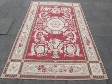 Old Hand Made French Design Original Wool 8 x 5 Red Aubusson 250X160cm